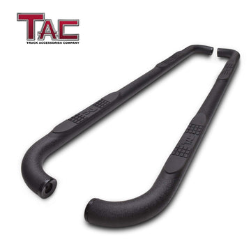 "TAC Heavy Texture Black 3"" Side Steps For Chevy Silverado/GMC Sierra 1999-2019 1500 Models & 1999-2019 2500/3500 Models Extended/Double Cab (Excl. C/K Classic) Truck 