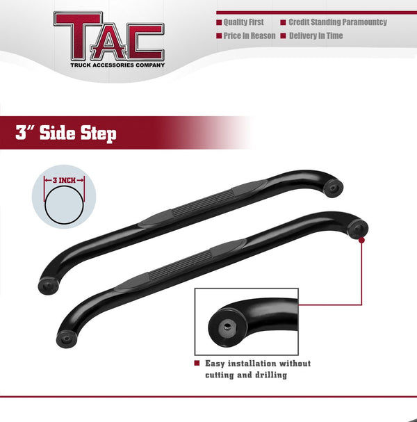 "TAC Gloss Black 3"" Side Steps For 2009-2018 Dodge Ram 1500 Regular Cab (Incl. 19-20 Ram 1500 Classic) / 2010-2020 Dodge Ram 2500/3500/4500/5500 Regular Cab Truck 