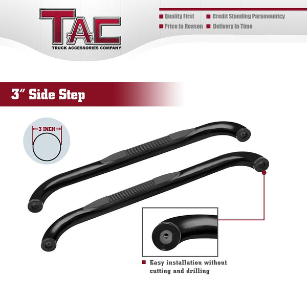 "TAC Gloss Black 3"" Side Steps For 2009-2014 Ford 150 Regular Cab Trcuk 