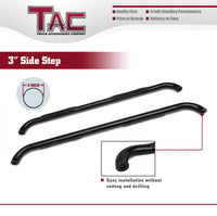 "TAC Gloss Black 3"" Side Steps For Chevy Silverado/GMC Sierra 1999-2019 1500 Models & 1999-2019 2500/3500 Models Extended/Double Cab (Excl. C/K""Classic"") Truck 