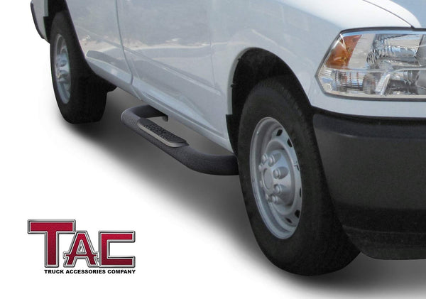 "TAC Heavy Texture Black 3"" Side Steps For 2009-2018 Dodge Ram 1500 Regular Cab (Incl. 2019-2021 Ram 1500 Classic) 
