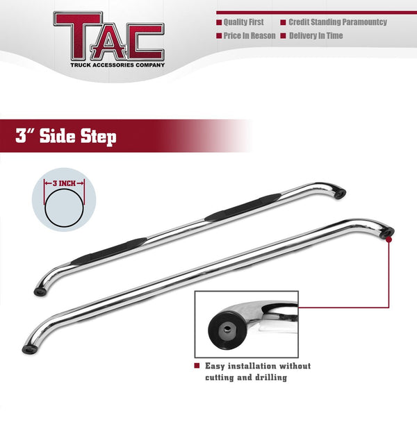 "TAC Stainless Steel 3"" Side Steps For 2009-2018 Dodge RAM 1500 Quad Cab (Incl. 2019-2021 Ram 1500 Classic) Truck 
