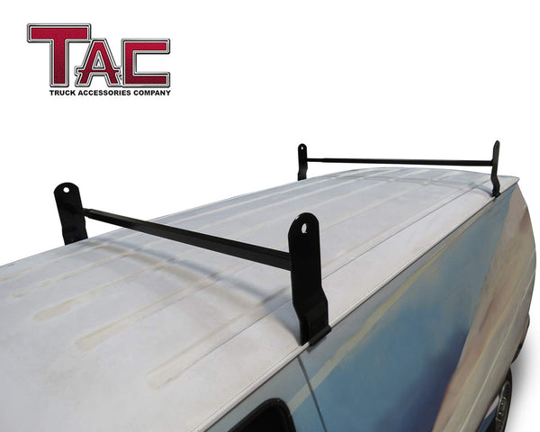 TAC Gloss Black Universal 2 Bars Roof Ladder Rack for Van with Rain Gutter (600 LBS Capacity)