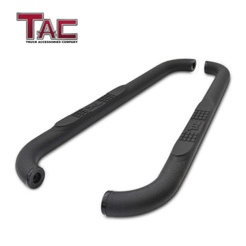 "TAC Heavy Texture Black 3"" Side Steps For 1999-2018 Chevy Silverado/GMC Sierra 1500 Regular Cab / 1999-2019 Chevy Silverado/GMC Sierra 2500/3500 Regular Cab (Excl. C/K Classic) Truck 
