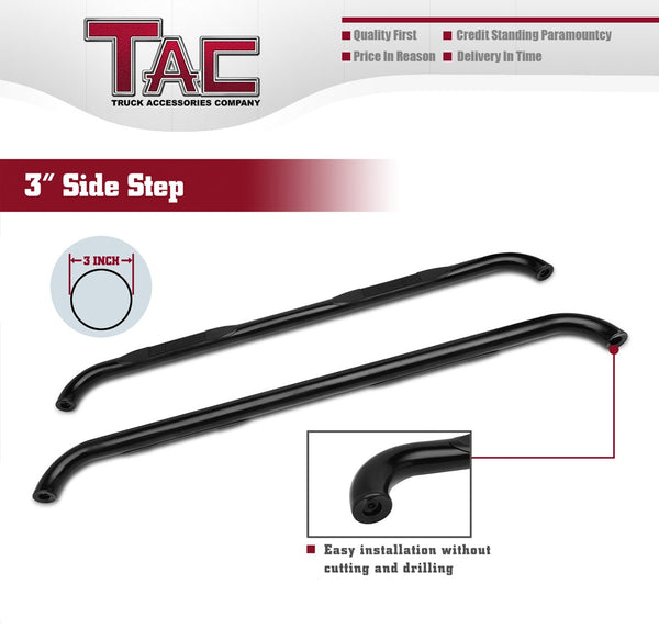 "TAC Gloss Black 3"" Side Steps For 2015-2021 Chevy Colorado / GMC Canyon Crew Cab Truck 