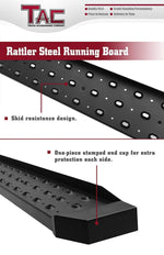 TAC Fine Texture Black Rattler Running Board for 1999-2016 Ford F250/F350/F450/F550 Super Duty Regular Cab Truck | Side Steps | Nerf Bars | Side Bars