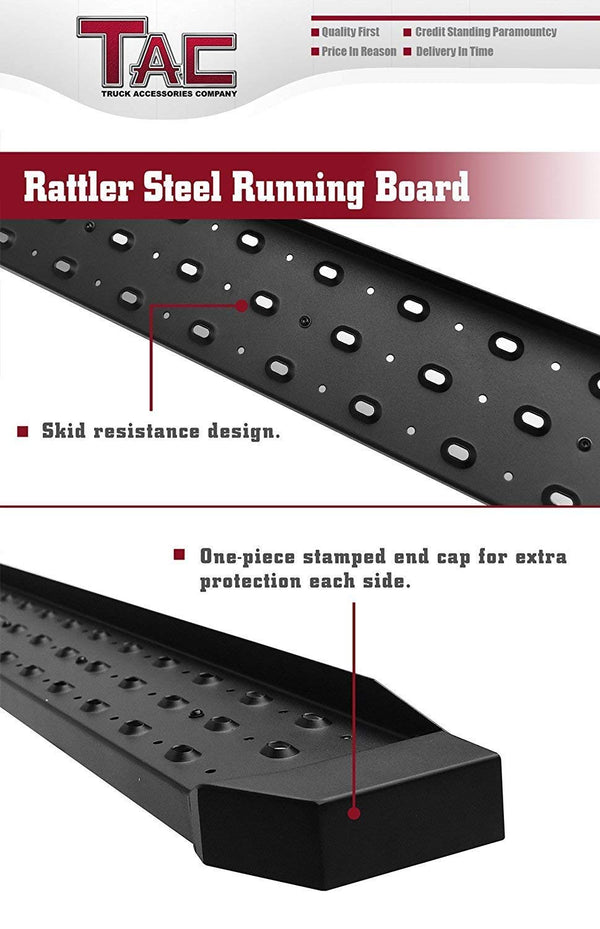 TAC Fine Texture Black Rattler Running Board for 2009-2018 Dodge RAM 1500 Crew Cab / 2010-2020 Dodge RAM 2500/3500 Crew Cab (Excl. Chassis Cab Diesel Models) Truck | Side Steps | Nerf Bars | Side Bars