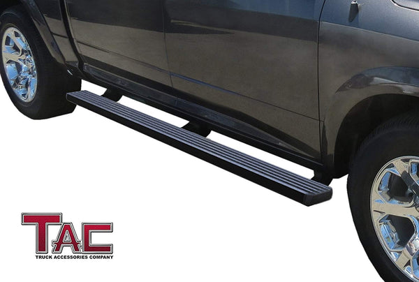 TAC Fine Texture Black I4 Running Boards For 2007-2019 Chevy Silverado/GMC Sierra 1500 Crew Cab / 2007-2019 Chevy Silverado/GMC Sierra 2500/3500 Crew Cab Truck | Side Steps | Nerf Bars | Side Bars