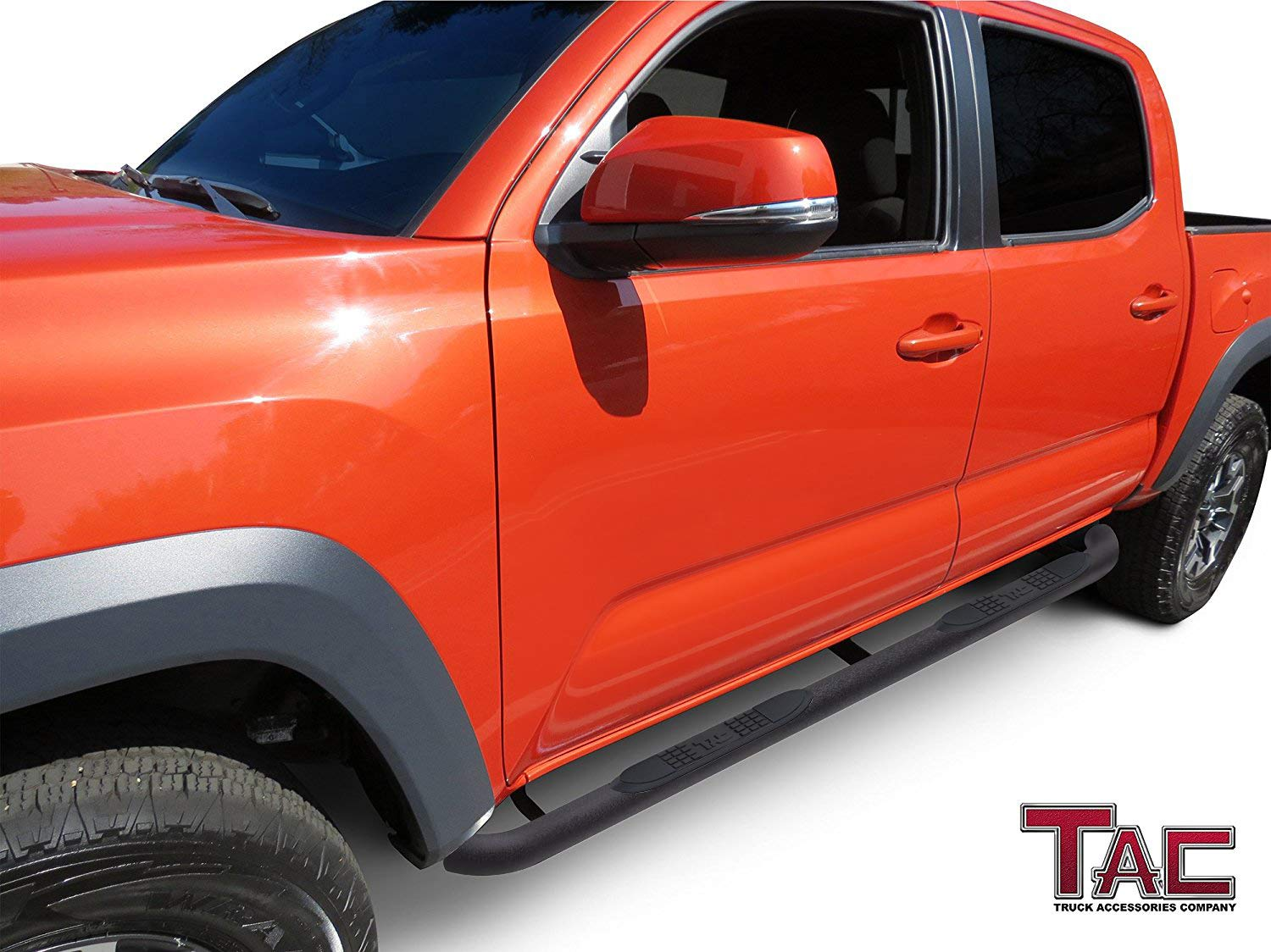 TAC Side Steps Fit 2005-2019 Toyota Tacoma Access Cab 4 Oval Bend Fine Texture Black Powder Nerf Bars Running Boards Mold Form Brackets + OE Standard Quality