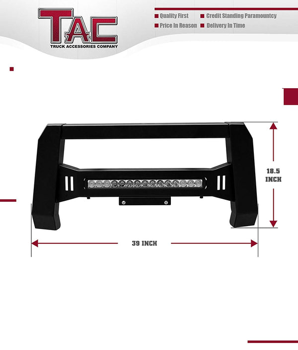 TAC Predator Modular Bull Bar with LED Light For 2004-2021 Ford F150 Truck Front Bumper Brush Grille Guard Nudge Bar