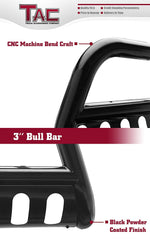 "TAC Gloss Black 3"" Bull Bar For 2007-2020 Toyota Tundra Truck / 2008-2020 Toyota Sequoia SUV Front Bumper Brush Grille Guard Nudge Bar"