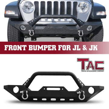 TAC Heavy Texture Black Front Bumper for 2018-2020 Jeep Wrangler JL / 2020 Jeep Gladiator / 2007-2018 Jeep Wrangler JK SUV with Towing D-Ring Front Bumper Brush Grille Guard Nudge Bar