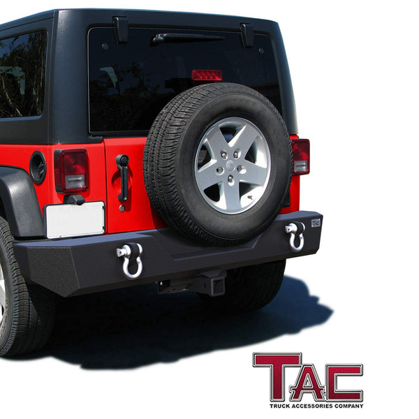 "TAC Heavy Texture Black Rear Bumper for 2007-2018 Jeep Wrangler JK (Exclude 18 JL Models)(2"" Hitch Receiver and 4.75 Ton D-Rings Included) Front Bumper Brush Grille Guard Nudge Bar"