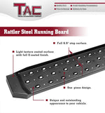 TAC Fine Texture Black Rattler Running Boards for 2019-2020 Chevy Silverado/GMC Sierra 1500 Crew Cab | 2020 Chevy Silverado/GMC Sierra 2500/3500 Crew Cab Truck | Side Steps | Nerf Bars | Side Bars