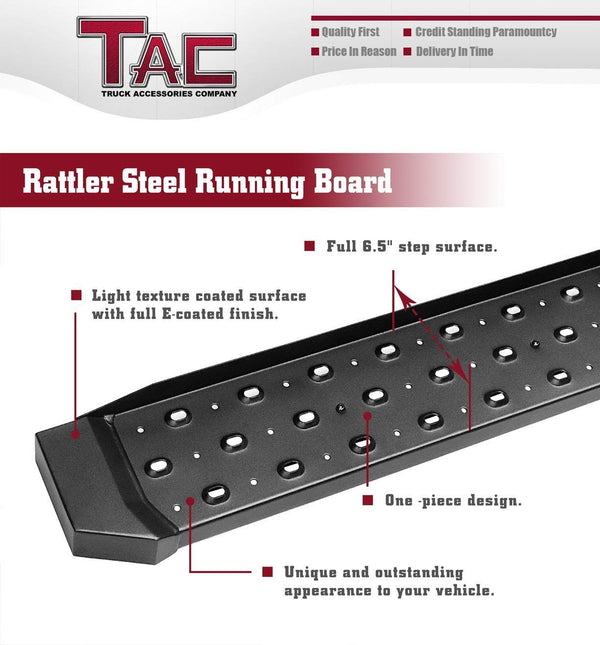 TAC Fine Texture Black Rattler Running Boards for 2019-2021 Chevy Silverado/GMC Sierra 1500 Crew Cab | 2020-2021 Chevy Silverado/GMC Sierra 2500/3500 Crew Cab Truck | Side Steps | Nerf Bars | Side Bars