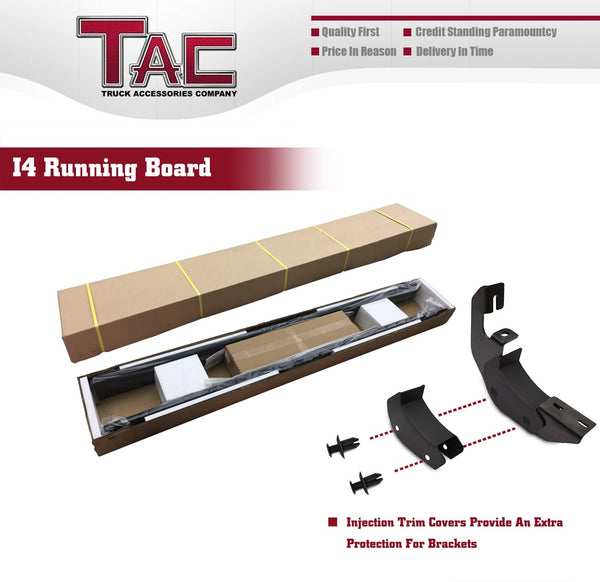 TAC Fine Texture Black I4 Running Boards For 2007-2016 Chevy Traverse/GMC Acadia (Incl. 2017 Acadia Limited) (Excl. Denali) / 2007-2010 Saturn Outlook SUV | Side Steps | Nerf Bars | Side Bars