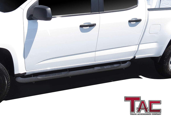 "TAC Heavy Texture Black 3"" Side Steps For 2015-2021 Chevy Colorado/GMC Canyon Crew Cab Truck 