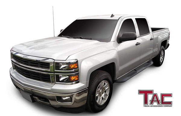 "TAC Heavy Texture Black 3"" Side Steps For Chevy Silverado/GMC Sierra 2001-2019 1500 Models & 2001-2019 2500/3500 Models Crew Cab (Excl. C/K Classic) Truck 