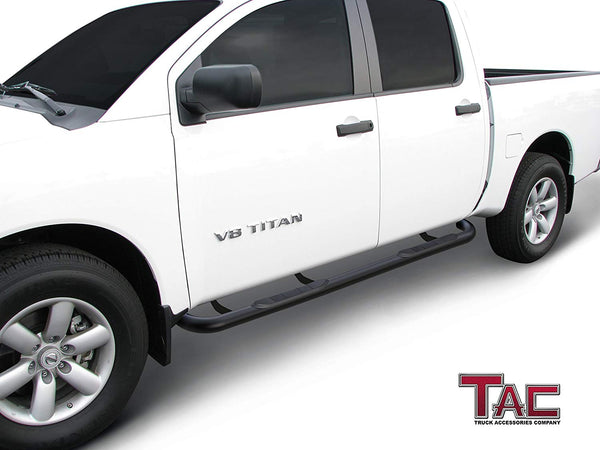 "TAC Gloss Black 3"" Side Steps For 2017-2021 Nissan Titan Crew Cab/ 2016-2021 Nissan Titan XD Crew Cab Truck 