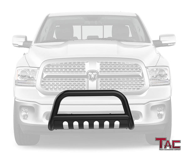 "TAC Gloss Black 3"" Bull Bar For 2009-2018 Dodge RAM 1500 (Excl. Rebel & Warlock Trims / Incl. 2019-2021 RAM 1500 Classic) Truck Front Bumper Brush Grille Guard Nudge Bar"
