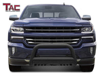 "TAC Heavy Texture Black 3"" Bull Bar For 2007-2018 Chevy Silverado/GMC Sierra 1500 Truck & 2007-2020 Chevy Suburban 1500/Tahoe/GMC Yukon/Yukon XL SUV Front Bumper Brush Grille Guard Nudge Bar"