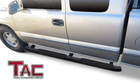 TAC Heavy Texture Black PNC Side Steps For Chevy Silverado/GMC Sierra 2007-2018 1500 Models & 2007-2019 2500/3500 Models Extended/Double Cab Truck | Running Boards | Nerf Bars | Side Bars
