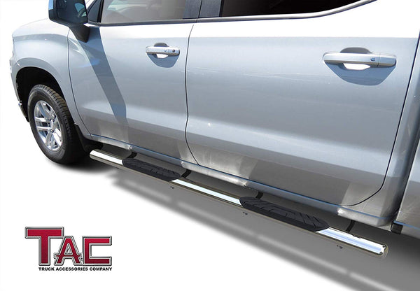 "TAC Stainless Steel 4"" Side Steps for 2019-2021 Chevy Silverado/GMC Sierra 1500 
