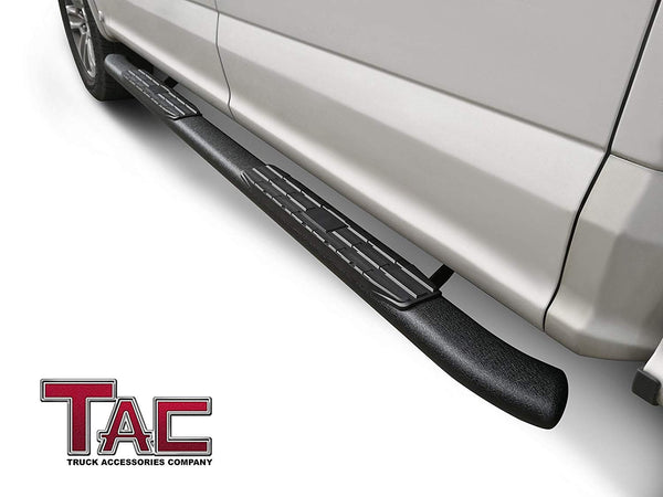 TAC Heavy Texture Black PNC Side Steps For 2015-2021 Ford F150 SuperCrew Cab / 2017-2021 Ford F250/F350/F450/F550 Super Duty Crew Cab Truck | Running Boards | Nerf Bars | Side Bars