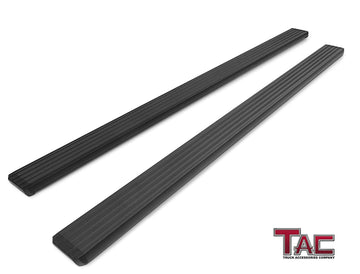 TAC Fine Texture Black I4 Running Boards For 2019-2020 Chevy Silverado/GMC Sierra 1500 | 2020 Chevy Silverado/GMC Sierra 2500/3500 Double Cab Truck | Side Steps | Nerf Bars | Side Bars