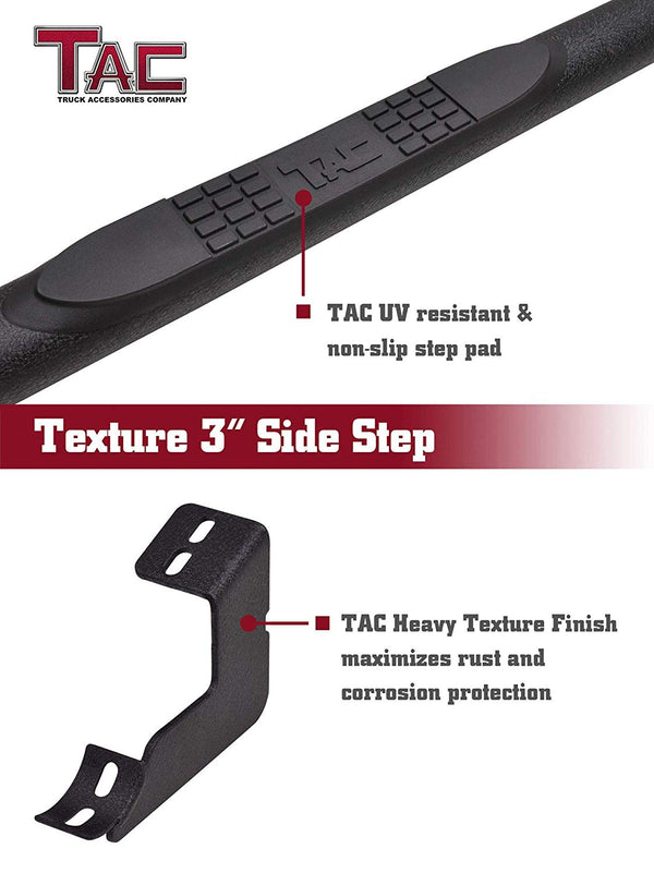 "TAC Heavy Texture Black 3"" Side Steps For 2005-2021 Toyota Tacoma Double Cab Truck 