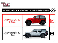 "TAC Fine Texture Black 4"" Side Steps for 2018-2021 Jeep Wrangler JL 2 Door SUV 