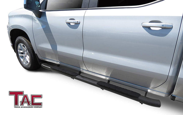 TAC Heavy Texture Black PNC Side Steps For 2019-2020 Chevy Silverado/GMC Sierra 1500 | 2020 Chevy Silverado/GMC Sierra 2500/3500 Crew Cab Truck | Running Boards | Nerf Bars | Side Bars
