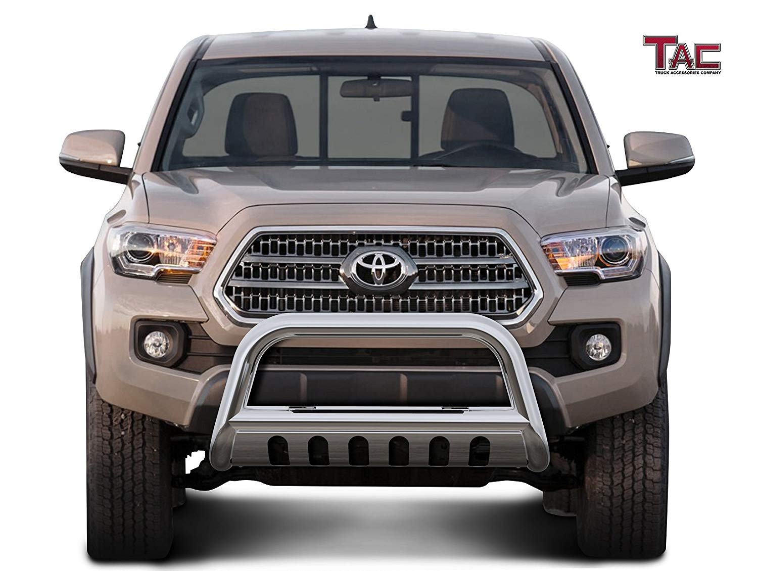 TAC 3 LED Lighting Bull Bar Black Compatible with 2016-2020 Toyota Tacoma Pickup Truck Front Bumper Guard Grille Guard with LED Off-Road Lights Exterior Accessories