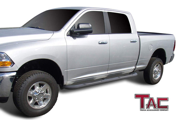 "TAC Heavy Texture Black 3"" Side Steps For 2009-2018 Dodge Ram 1500 Crew Cab (Incl. 19-20 Ram 1500 Classic) / 2010-2021 Dodge Ram 2500/3500/4500/5500 Crew Cab Truck 