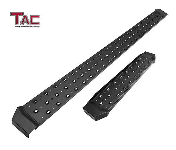TAC Fine Texture Black Rattler Running Board for 2003-2020 Chevy Express 1500/2500/3500 Van (Full Size) / 2003-2020 GMC Savanna 1500/2500/3500 Van (Full Size) | Side Steps | Nerf Bars | Side Bars