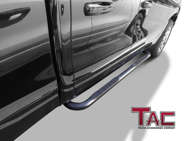 "TAC Gloss Black 3"" Side Steps For 2019-2021 Dodge Ram 1500 Quad Cab (Excl. 19-20 RAM 1500 Classic) Truck 