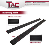 TAC Fine Texture Black I4 Running Boards For 1999-2016 Ford F250/350/450/550 Super Duty Crew Cab Truck | Side Steps | Nerf Bars | Side Bars
