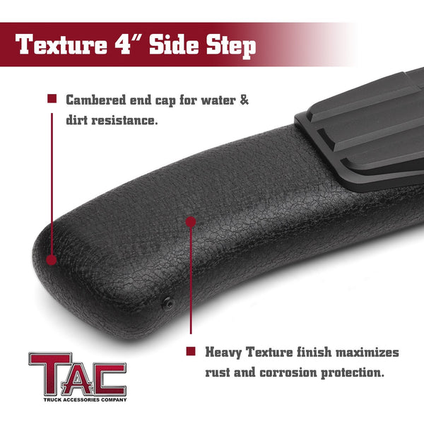 TAC Heavy Texture Black PNC Side Steps For 2018-2021 Jeep Wrangler JL 4 Door SUV (Exclude 2018 Wrangler JK Models) | Running Boards | Nerf Bars | Side Bars