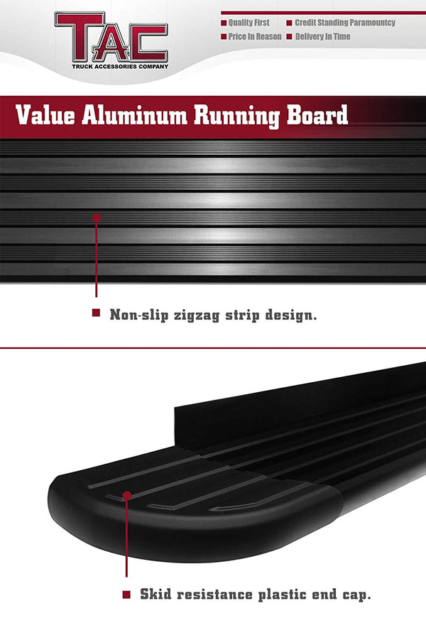TAC Value Aluminum Running Boards For 2011-2021 Jeep Grand Cherokee (Excl. Limited X, High Altitude, SRT,  SRT8, Trackhawk, Trailhawk, Summit) SUV | Side Steps | Nerf Bars | Side Bars