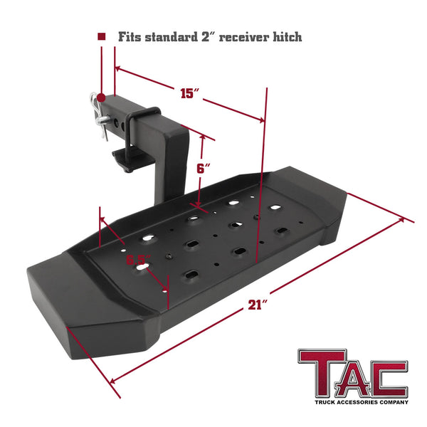 "TAC Fine Texture Steel Hitch Step with 6"" Drop Universal for 2"" Rear Hitch Receivers / Hitch Tightener Included"