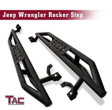 TAC Heavy Texture Black Armor Steps for 2007-2018 Jeep Wrangler JK 2 Door (Excl. 2018 Wrangler JL) | Running Boards | Nerf Bars | Side Bars