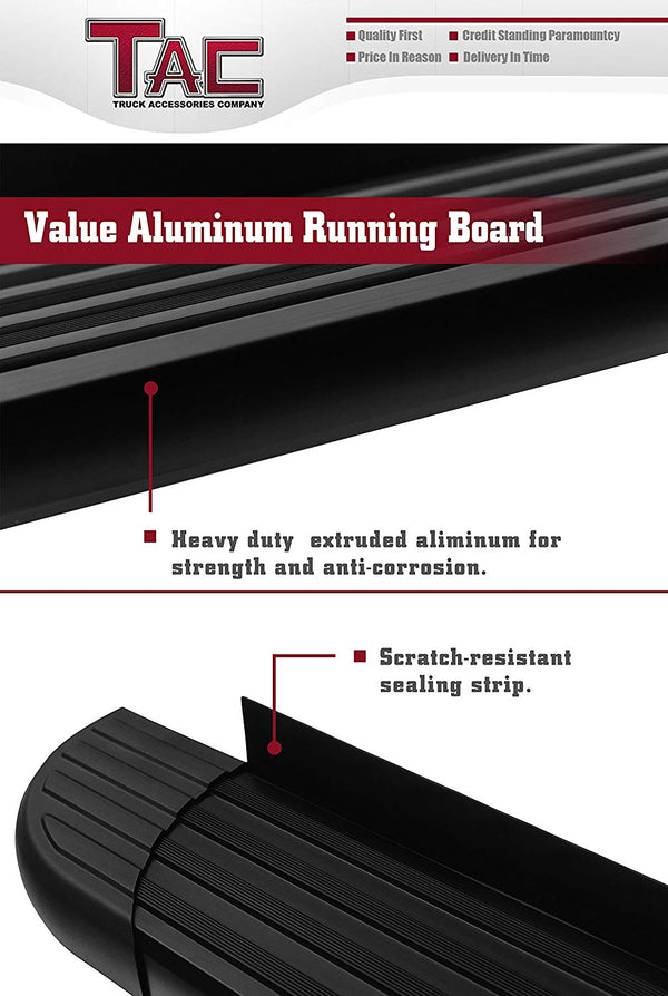 TAC Value Aluminum Running Boards For 2014-2019 Toyota Highlander SUV | Side Steps | Nerf Bars