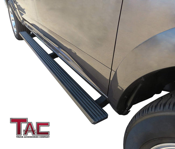 TAC Fine Texture Black I4 Running Boards For 2007-2021 Toyota Tundra Crew Max Truck | Side Steps | Nerf Bars | Side Bars