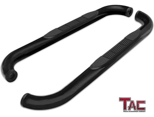 "TAC Gloss Black 3"" Side Steps For 2015-2021 Ford F150 Regular Cab / 2017-2021 Ford F250/F350/F450/F550 Super Duty Regular Cab Truck 