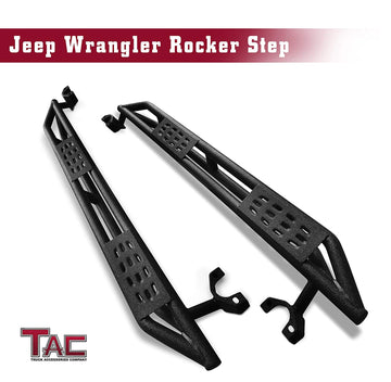 TAC Heavy Texture Black Armor Steps for 2007-2018 Jeep Wrangler JK 4 Door (Exclude 2018 Wrangler JL) | Running Boards | Nerf Bars | Side Bars