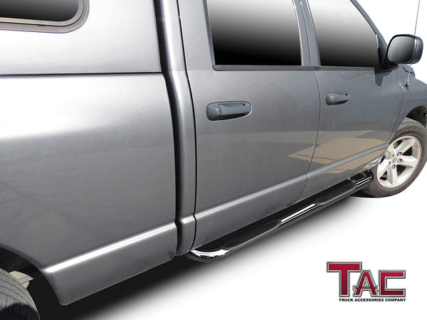 "TAC Stainless Steel 3"" Side Steps For 2002-2008 Dodge Ram 1500 Quad Cab /2003-2009 Dodge Ram 2500/3500 Quad Cab (Exclude Daytona, Rumble Bee and SRT-10 models) Truck 