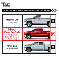 TAC Fine Texture Black I4 Running Boards For 2007-2019 Chevy Silverado/GMC Sierra 1500 & 2007-2019 Chevy Silverado/GMC Sierra 2500/3500 Extended/Double Cab Truck | Side Steps | Nerf Bars | Side Bars