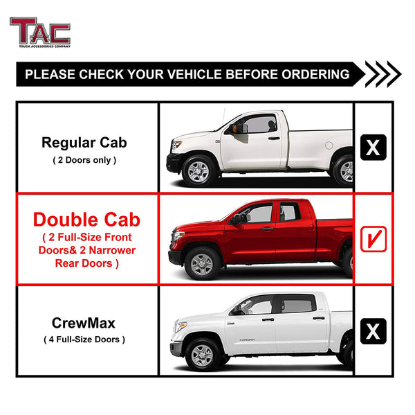 "TAC Gloss Black 3"" Side Steps For 2007-2021 Toyota Tundra Double Cab Truck 