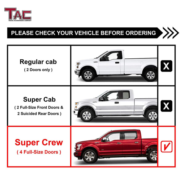 "TAC Gloss Black 4"" Side Steps for 2015-2021 Ford F150 SuperCrew Cab / 2017-2021 F250/F350/F450/F550 Super Duty Crew Cab Truck 