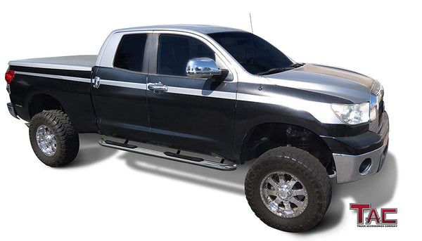 "TAC Stainless Steel 3"" Side Steps For 2007-2021 Toyota Tundra Double Cab Truck 